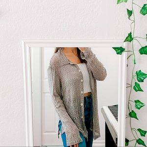 Tops - Lacy Silver Button Down